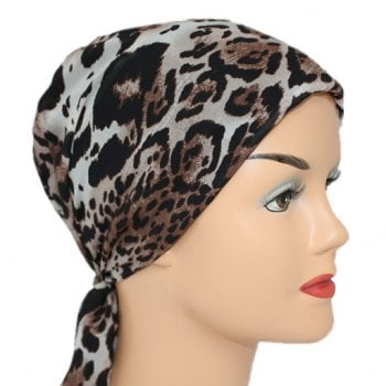 Petite Animal Print Padded Chiffon Head Tie Scarf