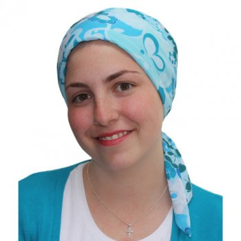 Petite Aqua Garden Padded Chiffon Head Tie Scarf (Turquoise, Blue, White) NEW FIT!