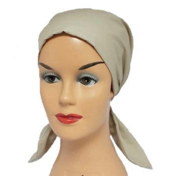 Petite Beige Padded Cotton Head Tie Scarf