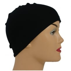 Petite Black 100% Cotton Jersey Head Cap