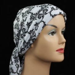 Petite Black And Silver Swirls On White Jersey 3 Seams Padded Bandana