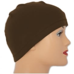 Petite Brown 100% Cotton Jersey Head Cap