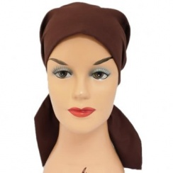 Petite Brown Padded Cotton Head Tie Scarf