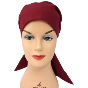 Petite Burgundy Padded Cotton Head Tie Scarf