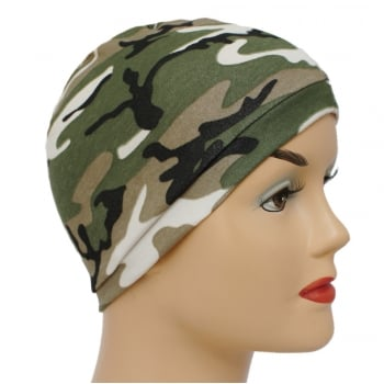 Petite Camouflage Green Jersey Head Cap