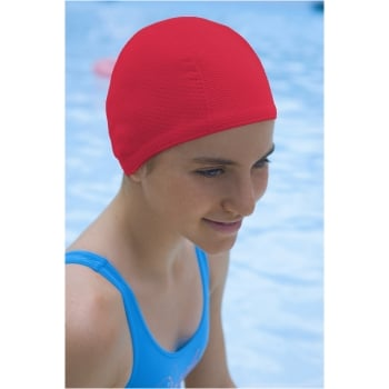 Petite/Child Bubble Non Pull Swim Cap Red
