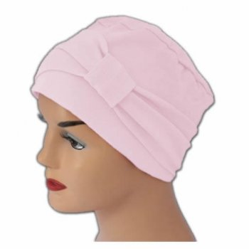 Petite Cosy Hat With Band Baby Pink 100% Cotton Jersey (2 Pieces)