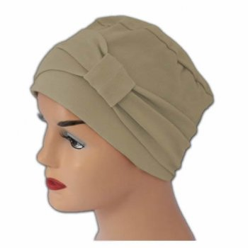 Petite Cosy Hat With Band Tan 100% Cotton Jersey (2 Pieces)