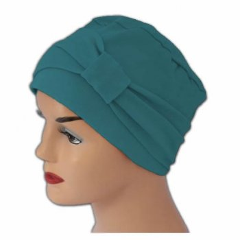 Petite Cosy Hat With Band Teal 100% Cotton Jersey (2 Pieces)