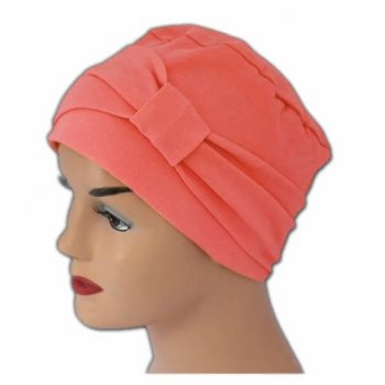 Petite Cosy Hat With Band Coral 100% Cotton Jersey (2 Pieces)