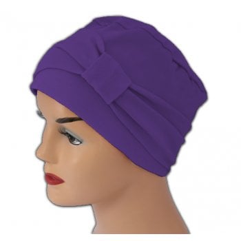 Petite Cosy Hat With Band Purple 100% Cotton Jersey (2 Pieces)
