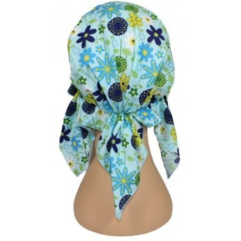 Petite Easy Tie Bandana Blues and Turquoise Floral