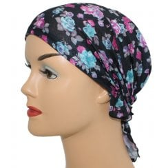 Petite Easy Tie Bandana Floral on Black