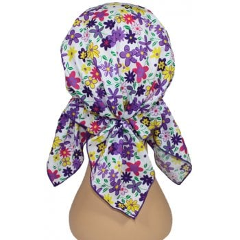 Petite Easy Tie Bandana Floral on White
