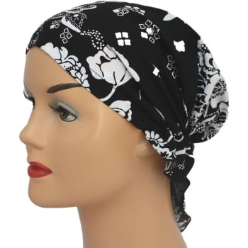 Petite Easy Tie Bandana Floral White On Black