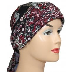 Petite Floral Paisley on Black Jersey 3 Seams Padded Bandana