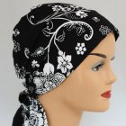 Petite Floral White On Black Padded Cotton Head Tie Scarf