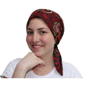 Petite Floriana Padded Chiffon Head Tie Scarf (Burgundy, Blue, Green, Black)