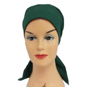 Petite Green Padded Cotton Head Tie Scarf