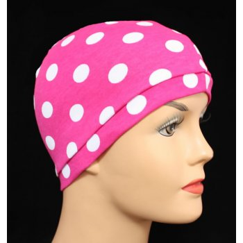 Petite Hot Pink White Polka Dot Jersey Head Cap