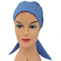 Petite Light Denim Padded Cotton Head Tie Scarf
