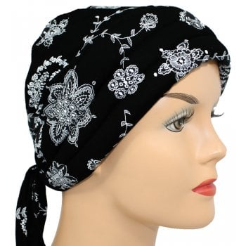 Petite Light Jersey 3 Seams Padded Bandana White Flowers on Black