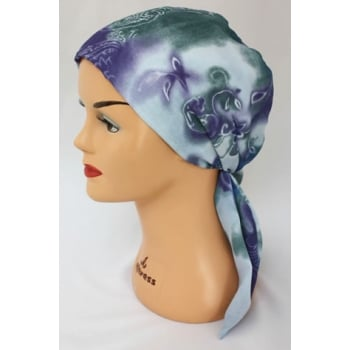 Petite Lilac Dream Padded Chiffon Head Tie Scarf (Grey Blue And Green)