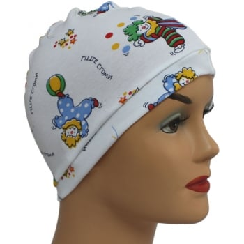 Petite Little Clowns 100% Cotton Jersey Head Cap