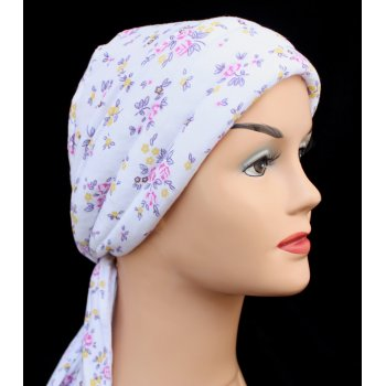 Petite Monaco Flower On White Jersey 3 Seams Padded Bandana