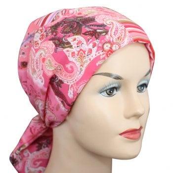 Petite Pink Squares Padded Chiffon Head Tie Scarf