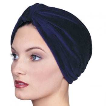Petite Pleated Velour Turban Navy