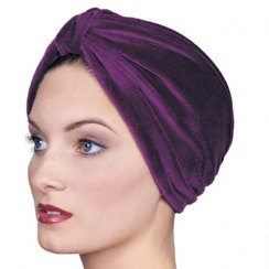 Petite Pleated Velour Turban Plum