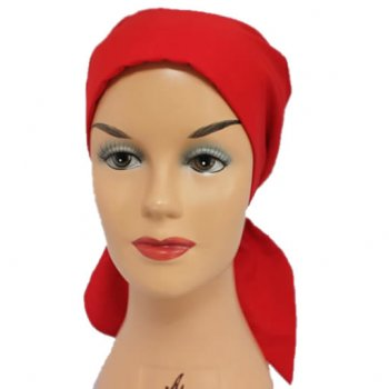 Petite Red Padded Cotton Head Tie Scarf