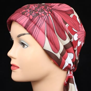 Petite Reds And Brown Floral 3 Seams Padded Bandana