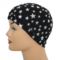 Petite Silver Stars on Black Jersey Head Cap