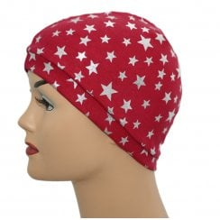 Petite Silver Stars on Red 100% Cotton Jersey Head Cap