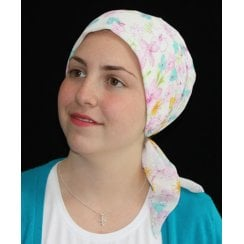 Petite Spring Floral Padded Chiffon Head Tie Scarf (Pink And Green)