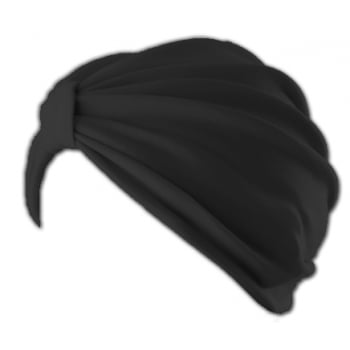 Petite Vicky Black Pleated Turban 100% Cotton Jersey