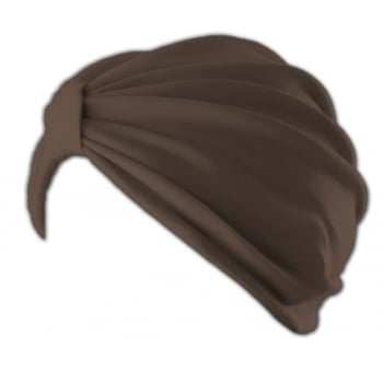 Petite Vicky Brown Pleated Turban 100% Cotton Jersey
