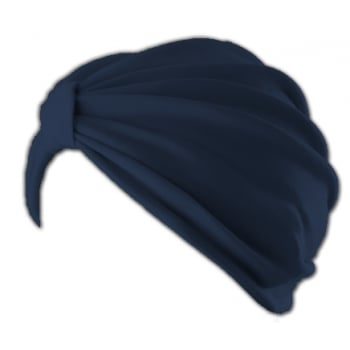 Petite Vicky Navy Pleated Turban 100% Cotton Jersey
