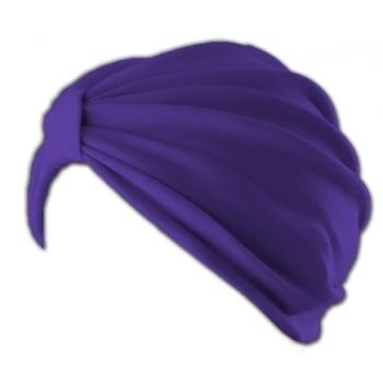 Petite Vicky Purple Pleated Turban 100% Cotton Jersey