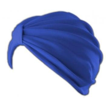 Petite Vicky Royal Blue Pleated Turban 100% Cotton Jersey