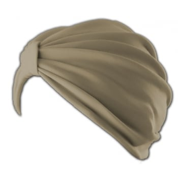 Petite Vicky Tan Pleated Turban 100% Cotton Jersey