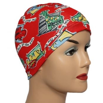 Petite Zoo Animals On Red Jersey Head Cap