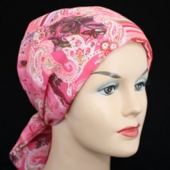 Pink Squares Padded Chiffon Head Tie Scarf