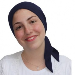 Plain Navy Padded Chiffon Head Tie Scarf