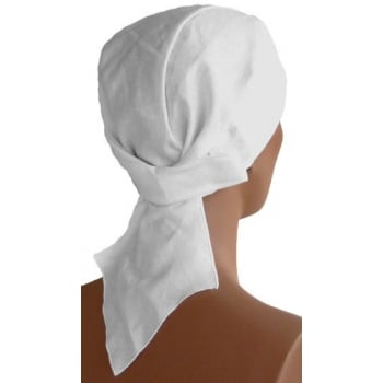 Plain White Deluxe No Tie Bandana 100% Cotton
