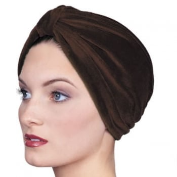 Pleated Velour Turban Chocolate Brown