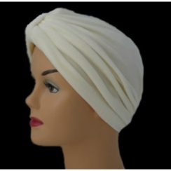 Pleated Velour Turban Cream