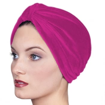 Pleated Velour Turban Fuschia